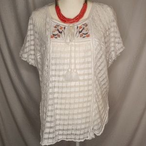 FREE PEOPLE Embroidered Sheer White Top Sz XS